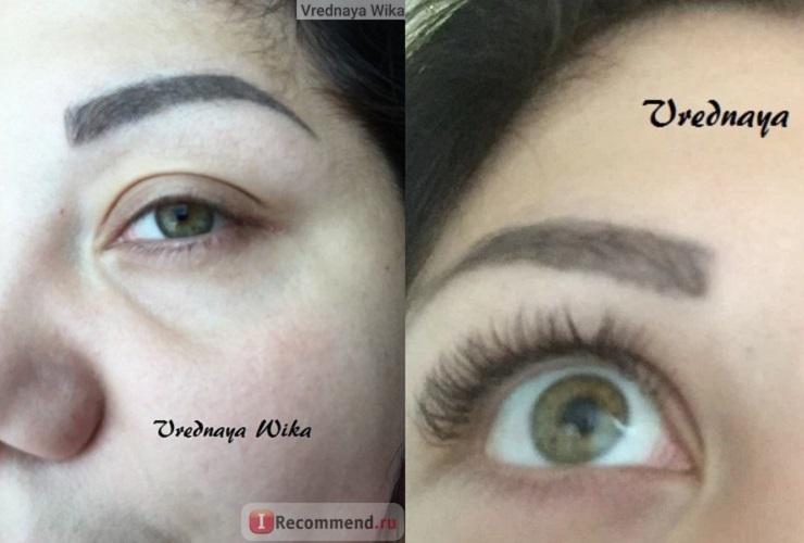 Глаза до и после наращивания ресниц