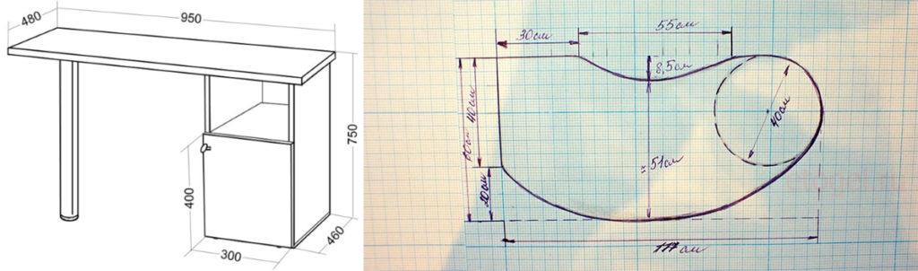 чертежи маникюрных столов с размерами