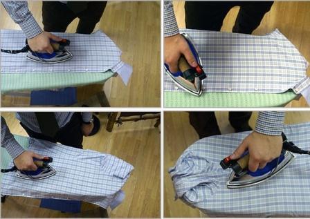 4 этапа глажки полочки на гладильной доске