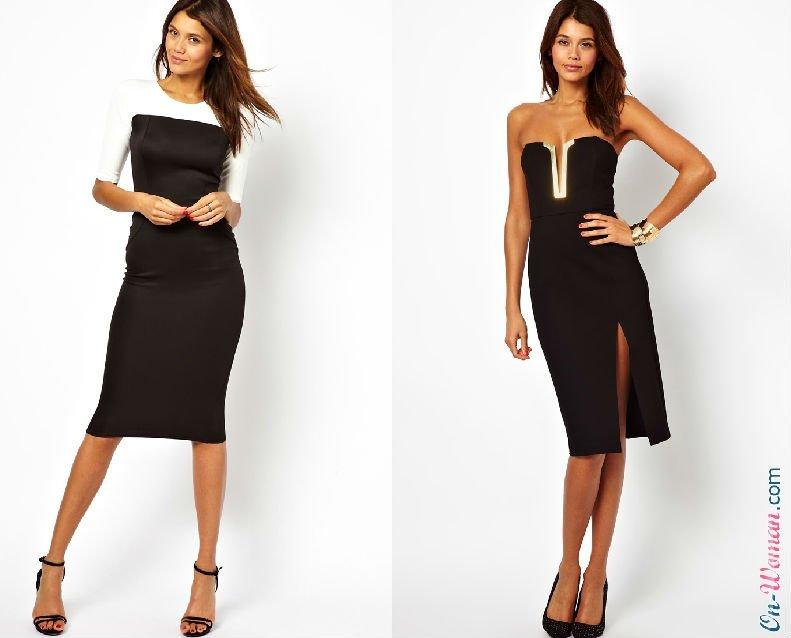 модели платьев миди с облегающим верхом и юбками полуклеш, которые были актуальны в 50-х годах прошлого столетия. Узкие классические миди, наоборот