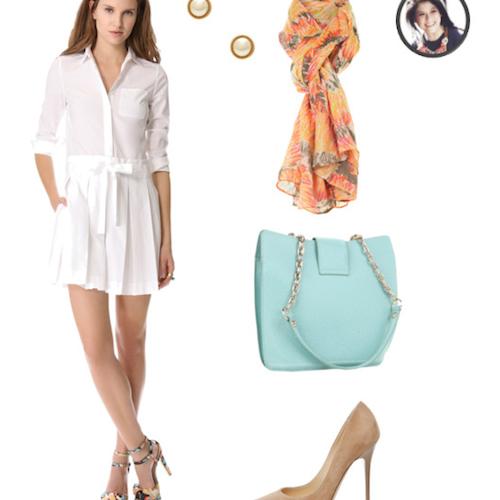 белое платье плюс туфли
