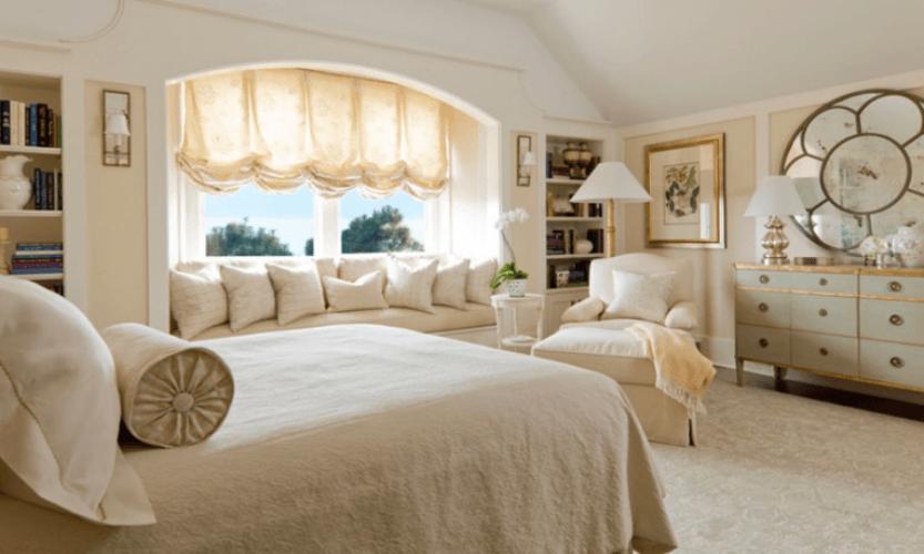 Австрийские занавески в спальном помещении