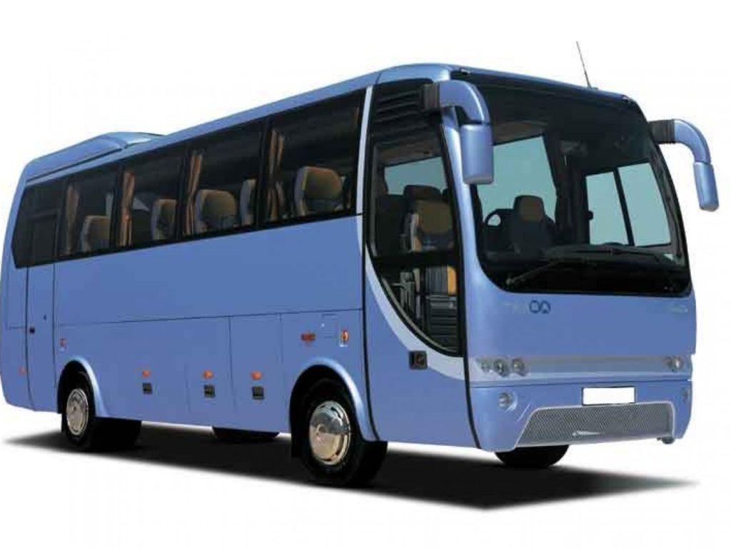 Автобус синего цвета