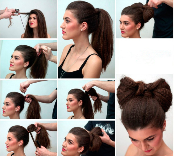 Бант из гофрированных волос
