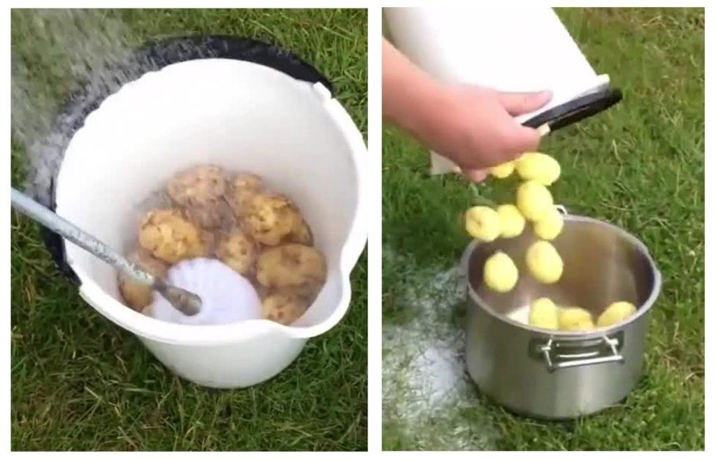 Белое ведро с картошкой и ёршик для унитаза, вторая часть — картошку пересыпают в кастрюлю