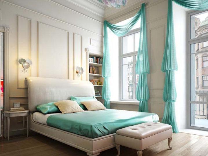 Бирюзовые занавески в спальне
