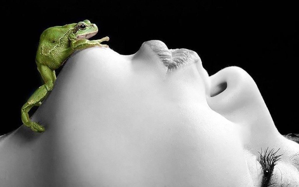 Лягушка на подбородке у девушки