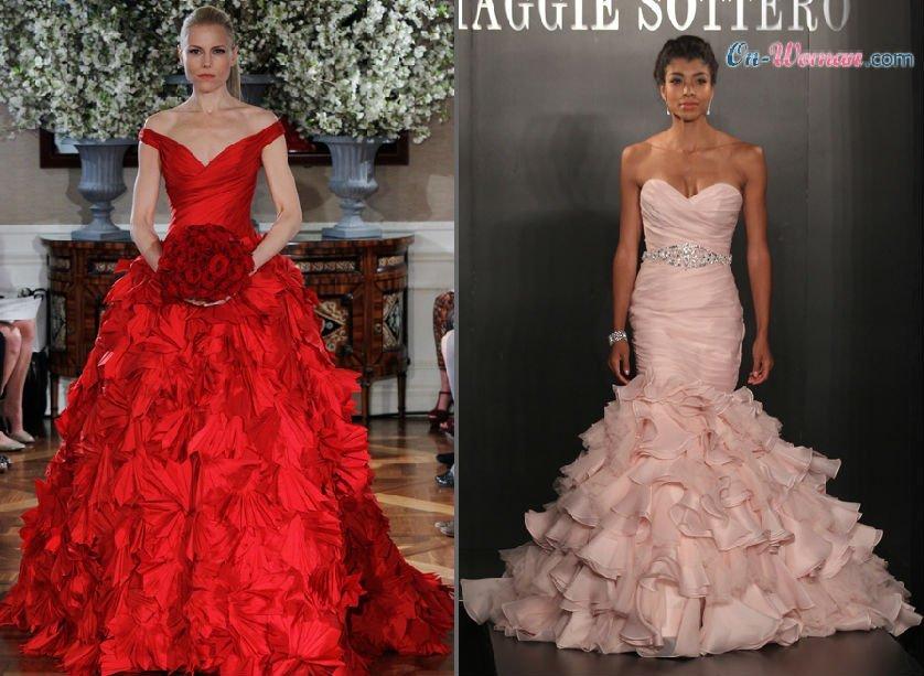 свадебные платья насыщенно красного цвета