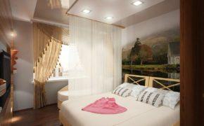 Декор штор в спальне кистями
