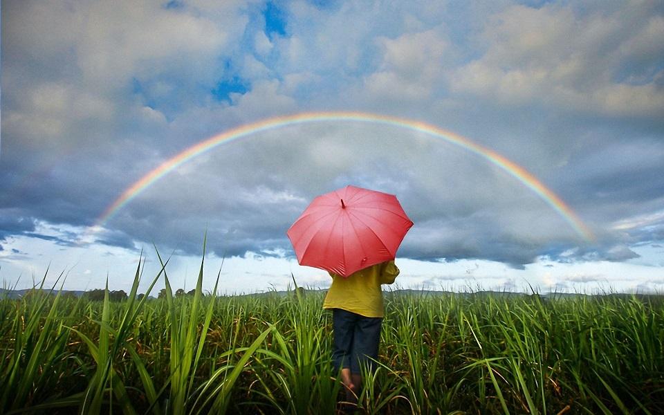 Девочка с зонтиком смотрит на радуу