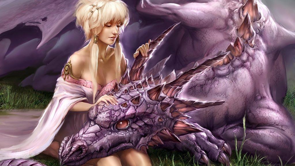 Девушка гладит дракона