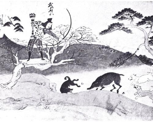Древнеяпонский рисунок с акита-ину на охоте