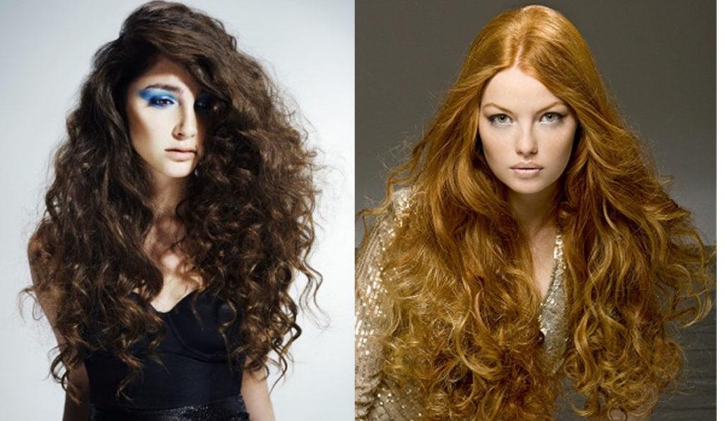 Две девушки с завивкой длинных волос