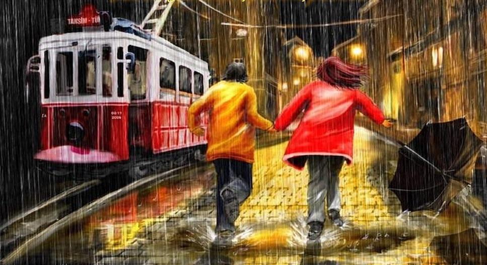 на улице дождь едет автобус обычного