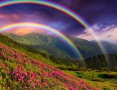 Двойная радуга в гораах