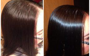 Фотография волос женщины до и после использования средства для волос с маслом амлы