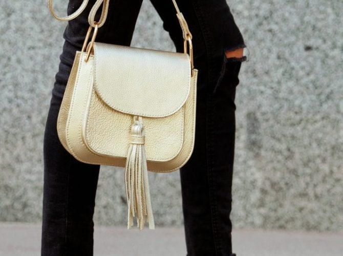 сумка с золотой фурнитурой