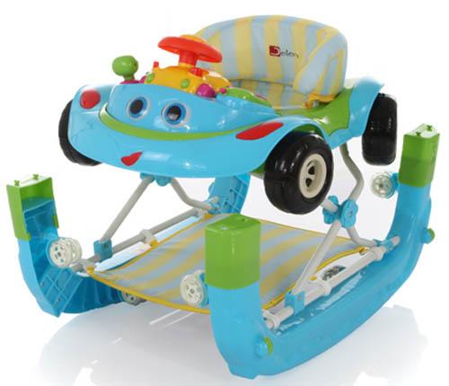 Голубые ходунки в виде машины с полозьями для качалки