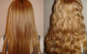 Химическая завивка волнами на длинных рыжих волосах