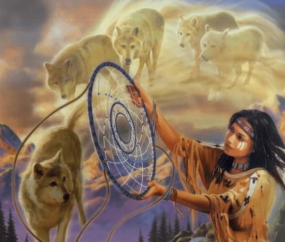 Индейская девушка с ловцом снов и волки