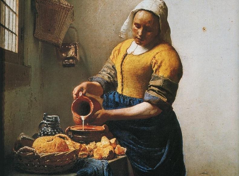 Картина с женщиной, наливающей молоко в плошку