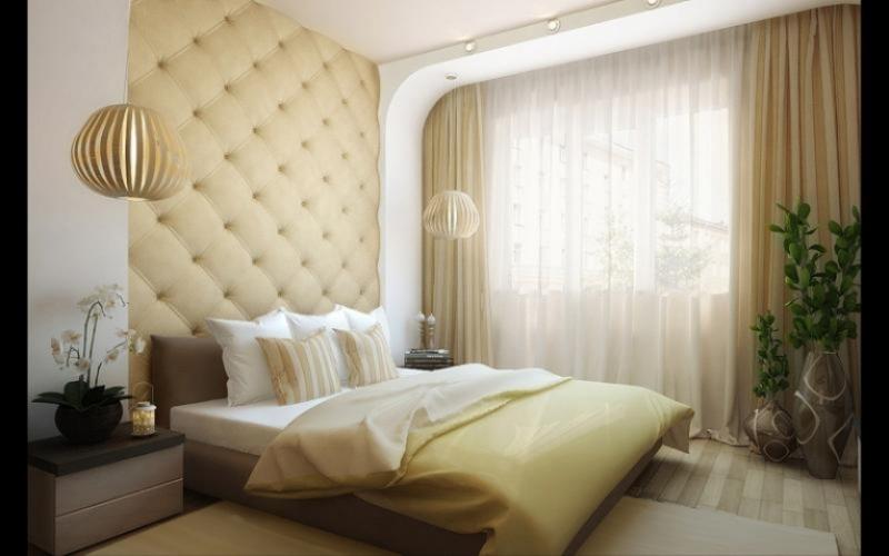 Портьеры и тюль в светлой спальне