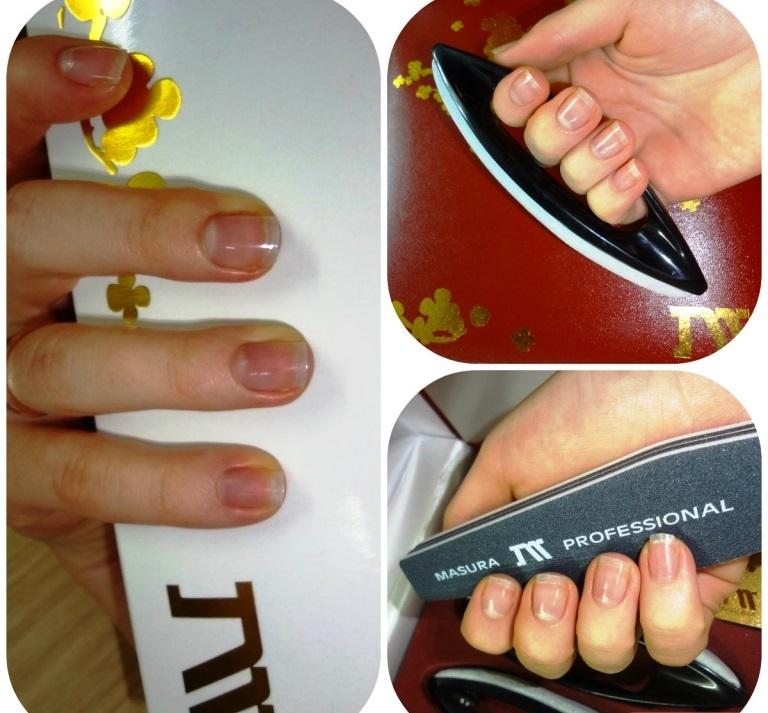 Коллаж из трех фото: женская рука держит коробку, кичин, пилку