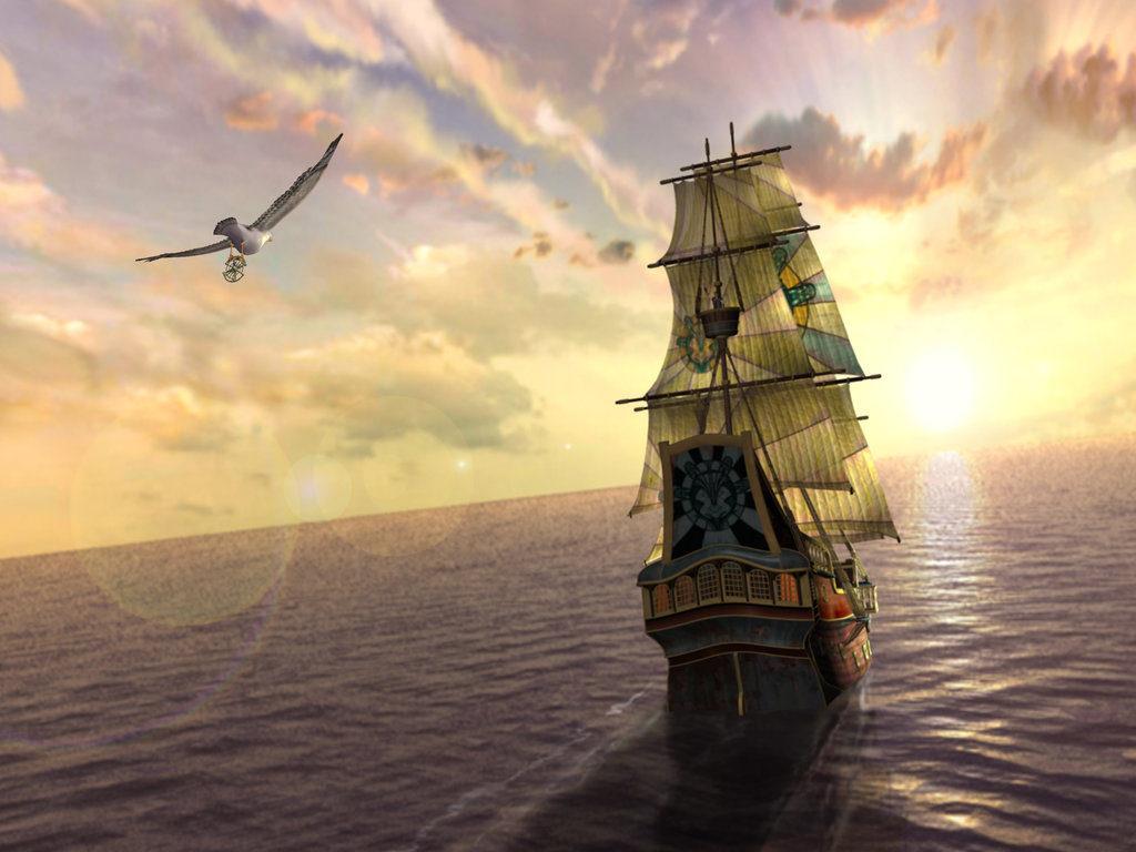 корабль в океане