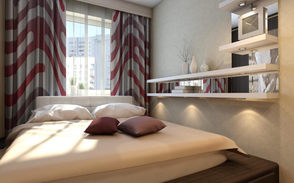 Крупный рисунок штор в спальне