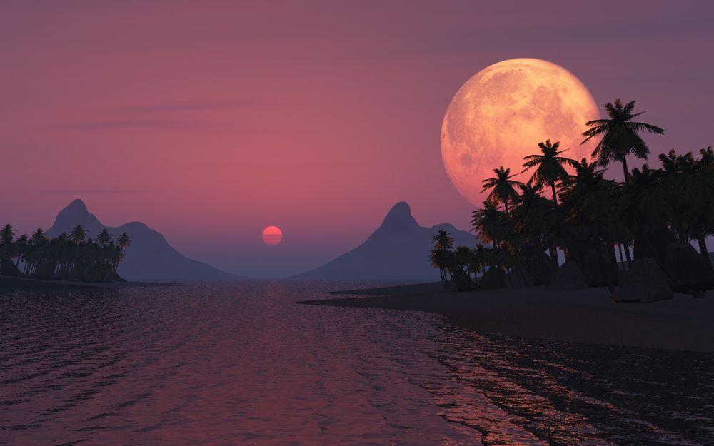 Луна и закат солнца