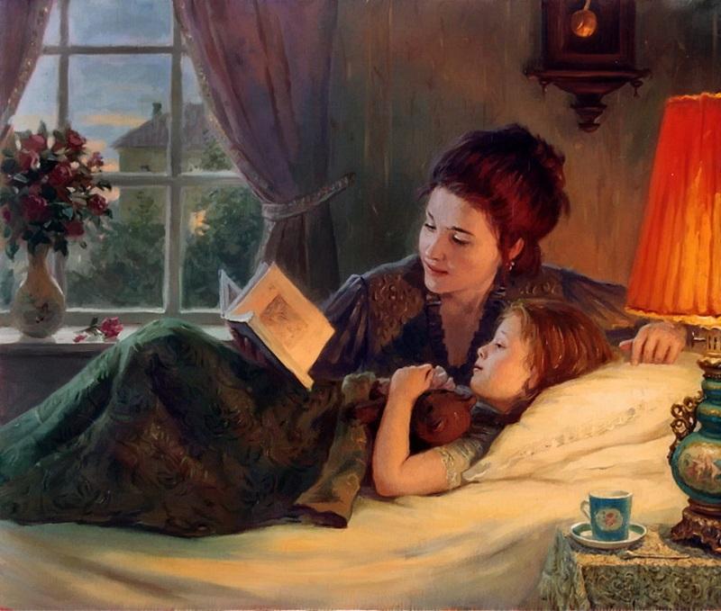 Мама читает ребёнку