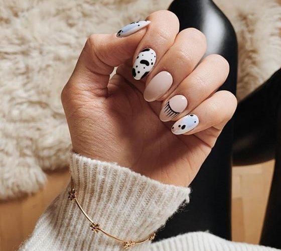 рисунок на миндалевидных ногтях