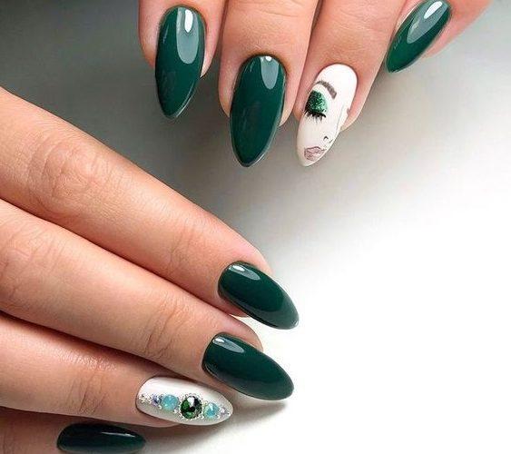 миндалевидная форма ногтей дизайн