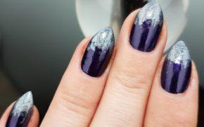 Маникюр фиолетовый с серебряным