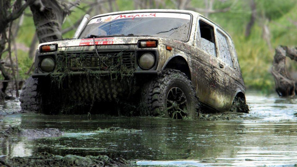 Машина заехала в болото