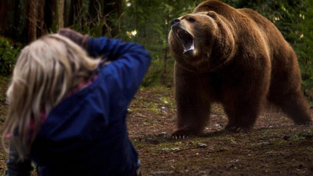 Медведь нападает на девушку