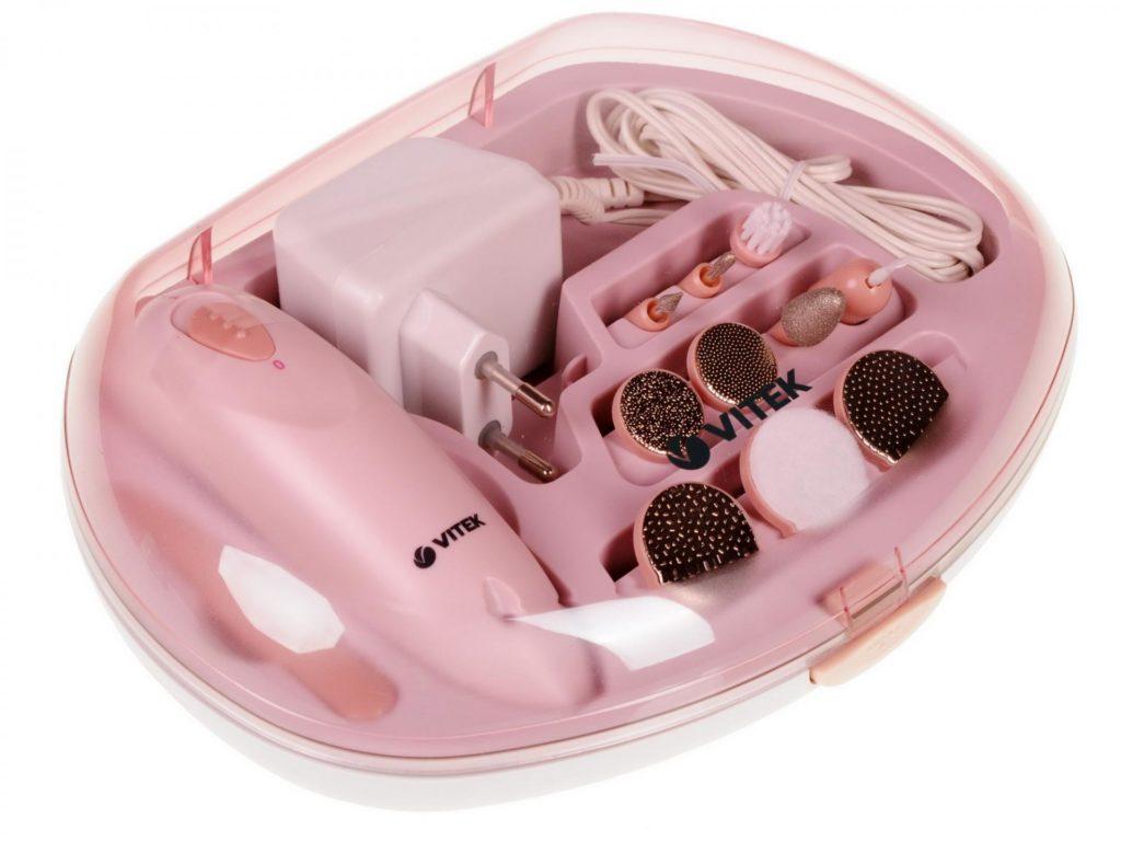 Набор для аппаратного маникюра розового цвета