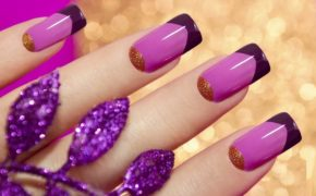 Наращивание «Необычный френч в фиолетовых тонах»