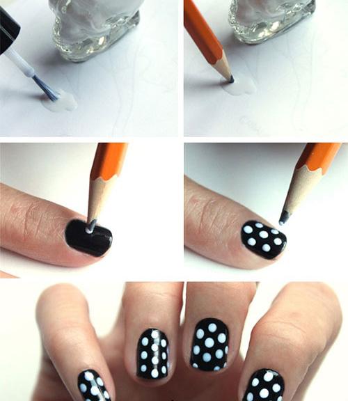 Рисование на ногтях горошины
