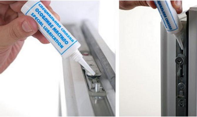 Обработка фурнитуры пласиковых окон специальной смазкой