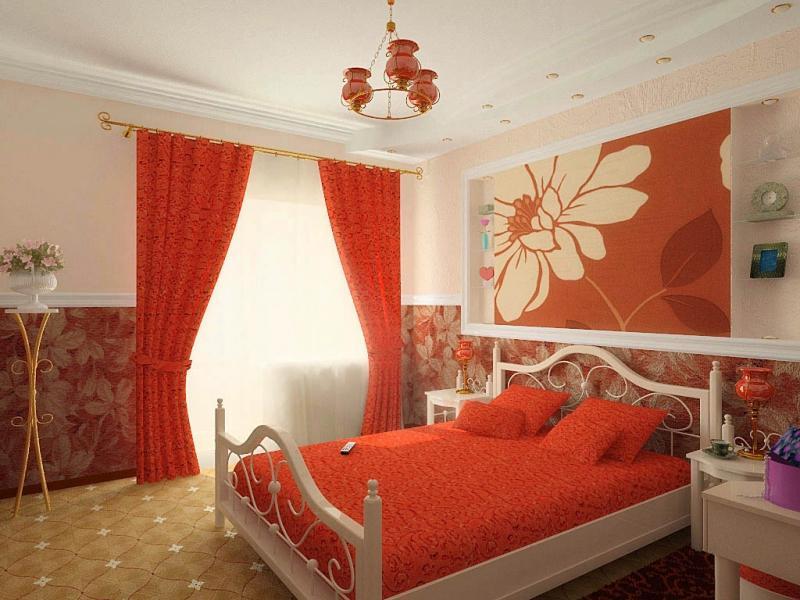 Красный цвет в оформлении спальной комнаты