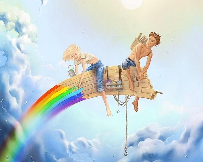 Парень и девушка строят радугу