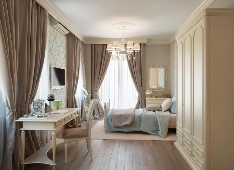 Пастельные оттенки штор в светлой спальне