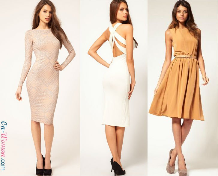Платья стильные до колена