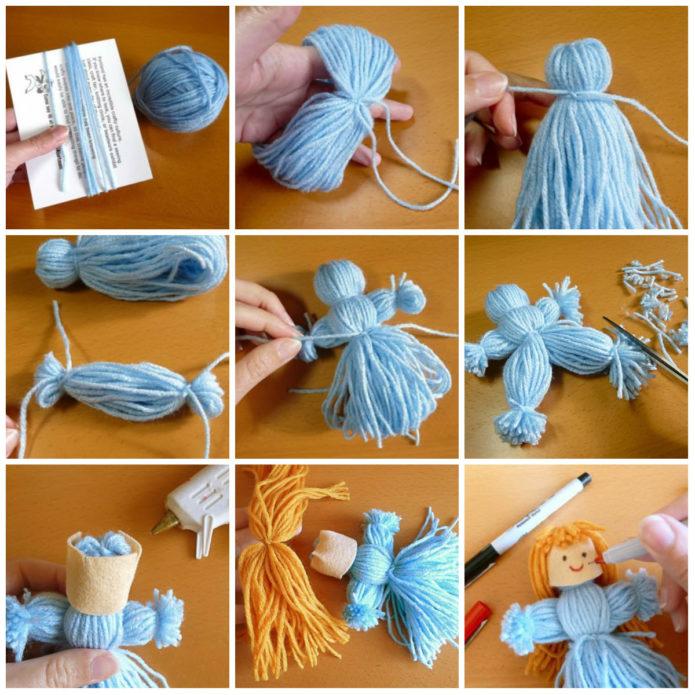 Пошаговое изготовление куклы из ниток