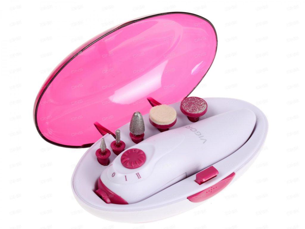 Прибор для аппаратного маникюра в бело-розовом футляре