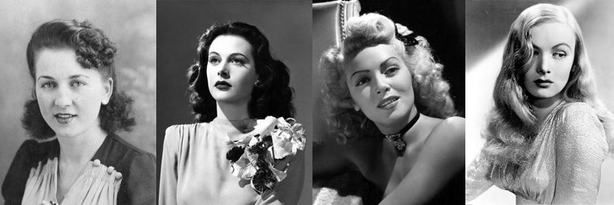 Модные причёски 40-х годов, 4 варианта
