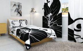 Шторы с необычным принтом в спальне