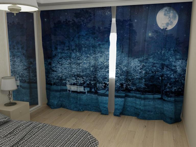 Принт ночной тематики на шторах в спальне