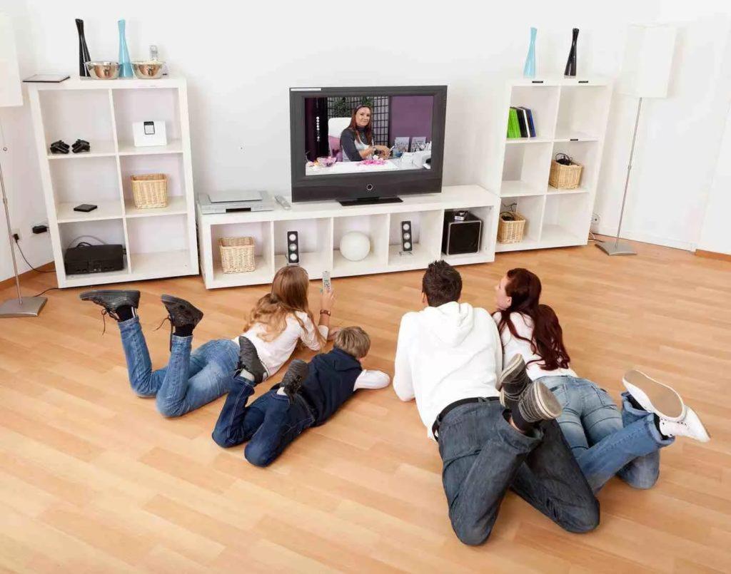 Семья смотрит телепередачу